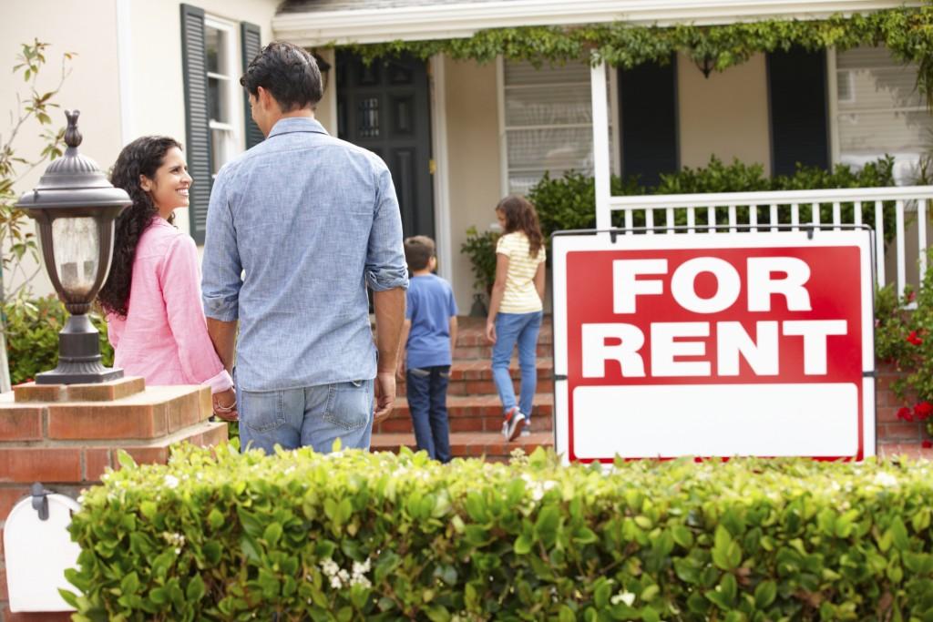 Hispanic family outside Baltimore County rental property