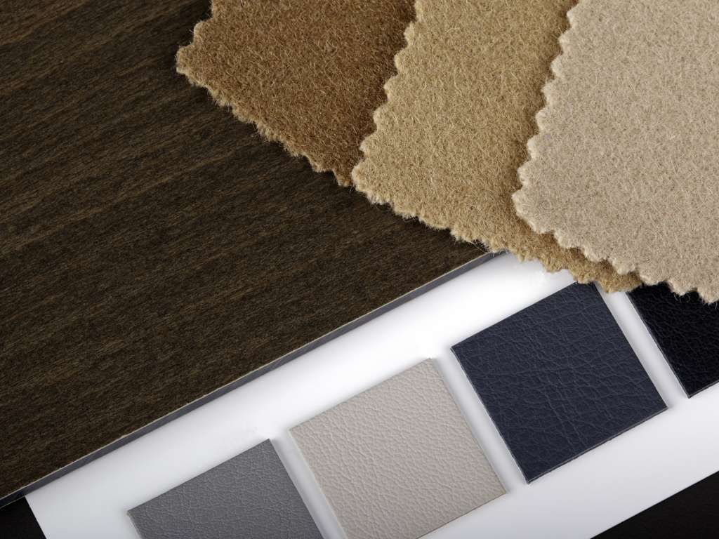 Swatches of color and fabric materials for interior design