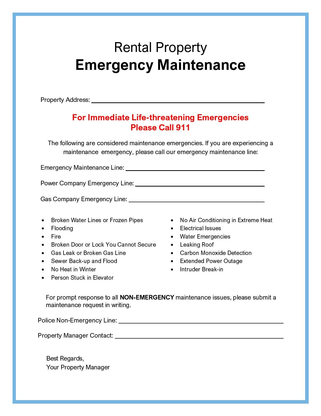 Printable Maintenance Emergency Form